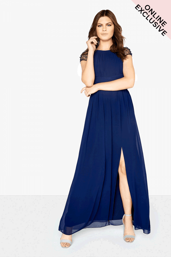 6a1e7a64e66 Little Mistress Navy Chiffon Maxi Dress - Little Mistress from ...