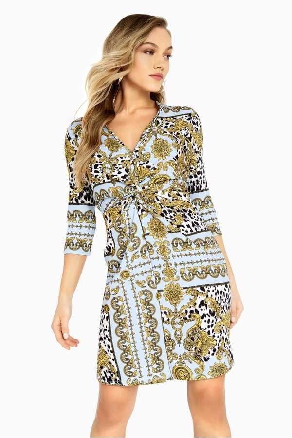 Parker Chain-Print Knot Waist Dress