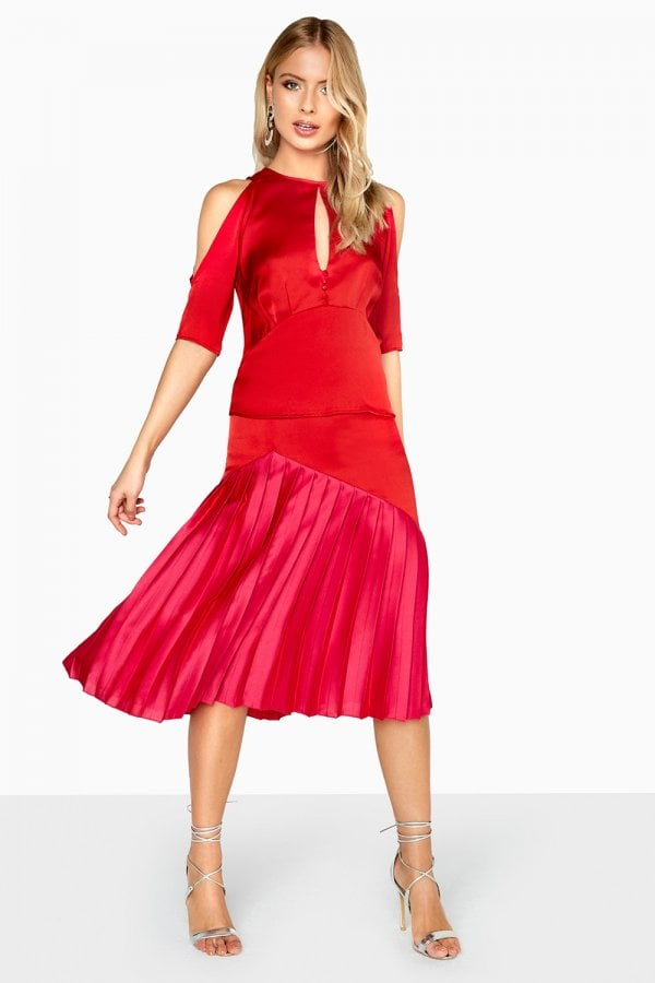 Charlotte Colour Block Pleated Skirt - Red, Red Little Mistress