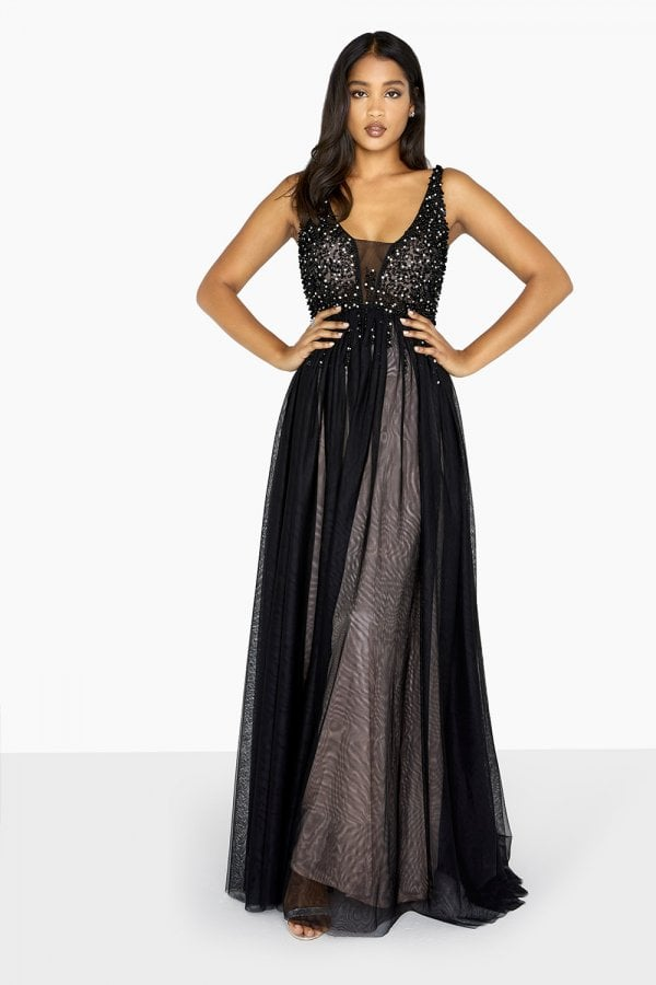 52681590375 Black Tulle Maxi Dress - from Little Mistress UK