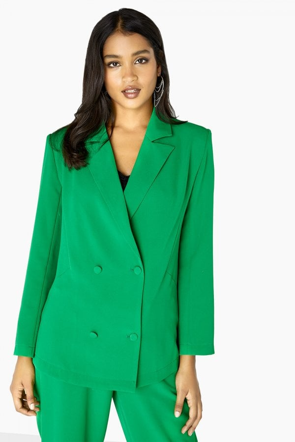 Green Double Breasted Blazer Co-Or