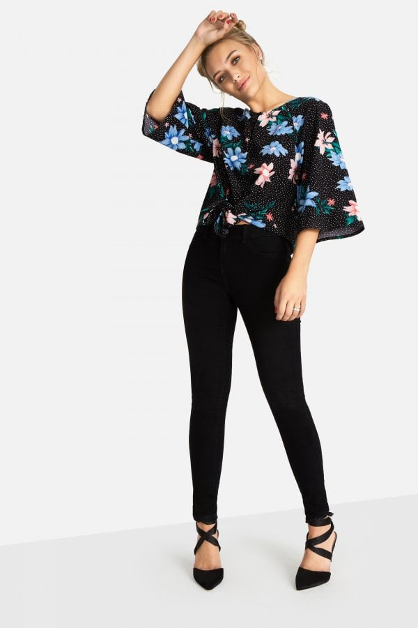 6e61856d4c5146 Outlet Girls On Film Lio Floral Spot Tie Blouse - Outlet Girls On ...
