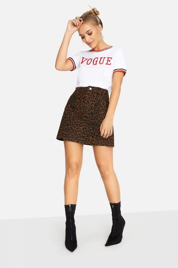 Ronnie Leopard Denim Skirt
