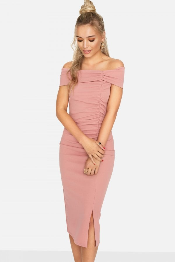 f080ea53cf7 Girls on Film Sweet Thing Ruched Bardot Dress - Girls On Film from ...