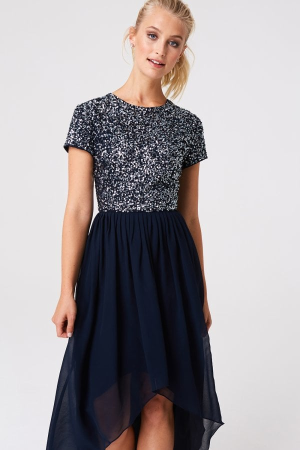29004143 Luxury Elise Navy Hand-Embellished Sequin Midi Dress - from Little ...