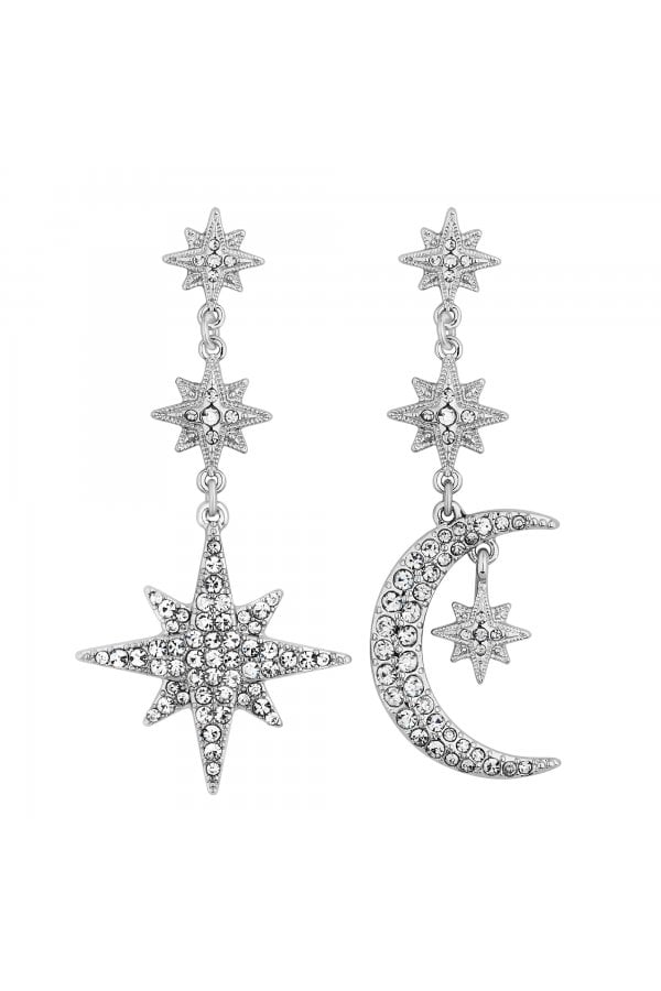 Silver Crystal Moon And Star Statement Drop Earrings