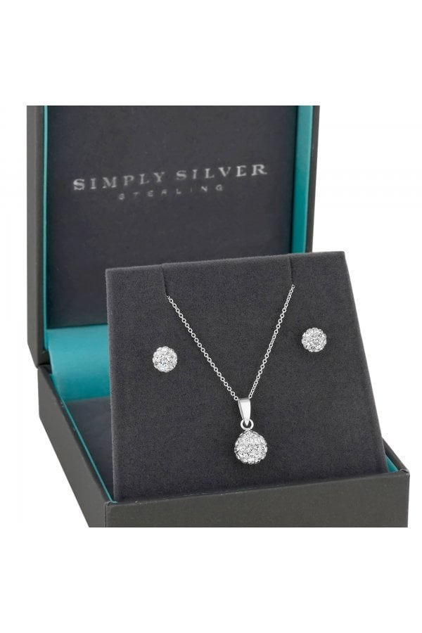 Sterling Silver Cubic Zirconia Pave Ball Jewellery Set In A Gift Box