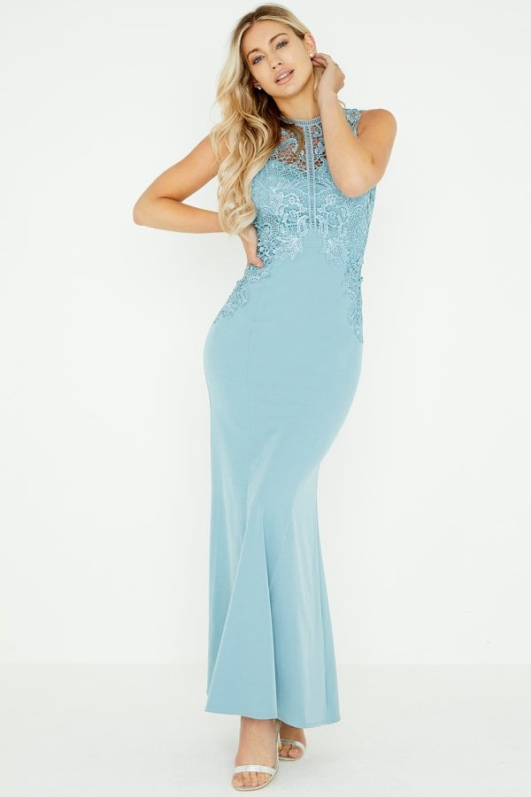 Lizzy Blue Crochet Lace Maxi Dress