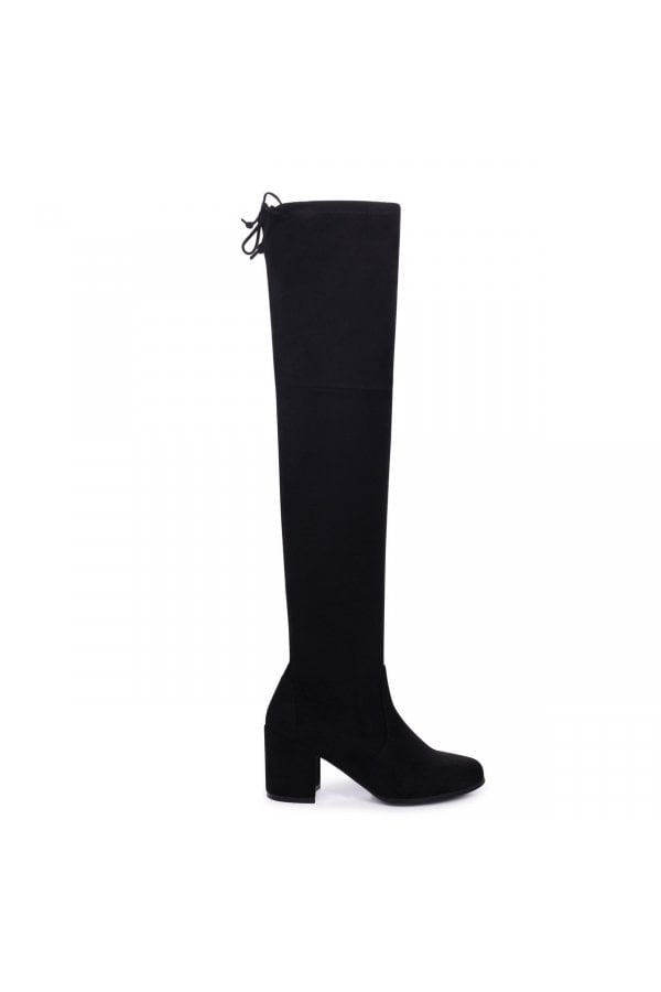 2c0bd13afde ... Linzi Amber Black Suede Block Heeled Over The Knee Boots with Tie Up  Backclass= ...