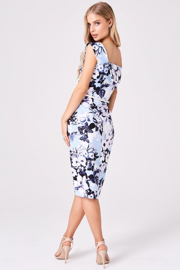 7f9d5675792f Paper Dolls Mews Blue Floral Midi Pencil Dress - Paper Dolls from ...