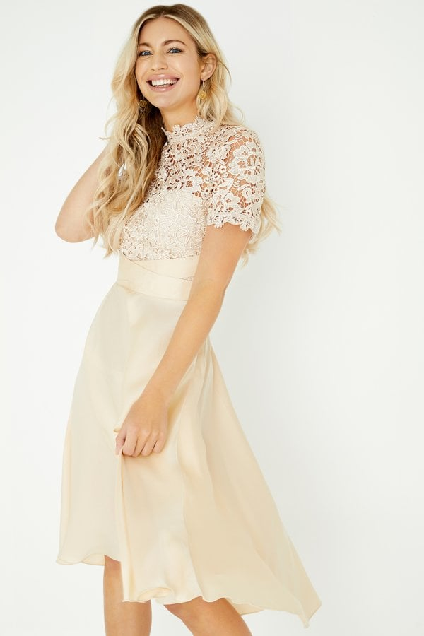 Little Mistress Lizzy Beige Crochet Lace Midi Dress Little