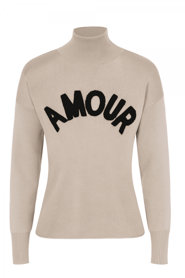 Image of Amour Black Polo-Neck Jumper - Sand, Sand