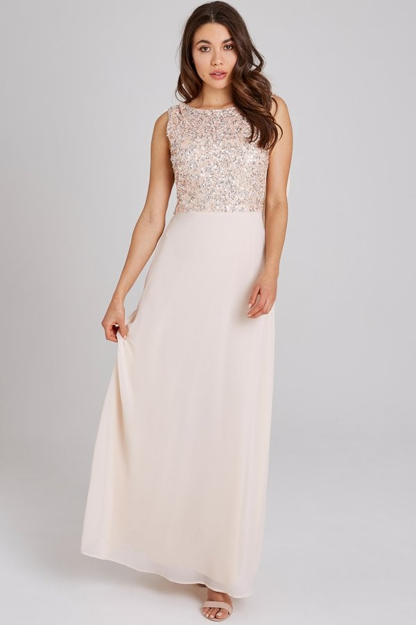 4367f515 ... Little Mistress Luxury Nadine Nude Hand-Embellished Sequin Cowl Back  Maxi Dressclass= ...