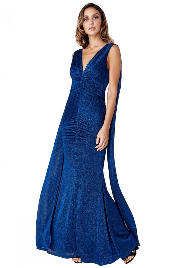 Angel Wing Maxi Dress - Royal Blue