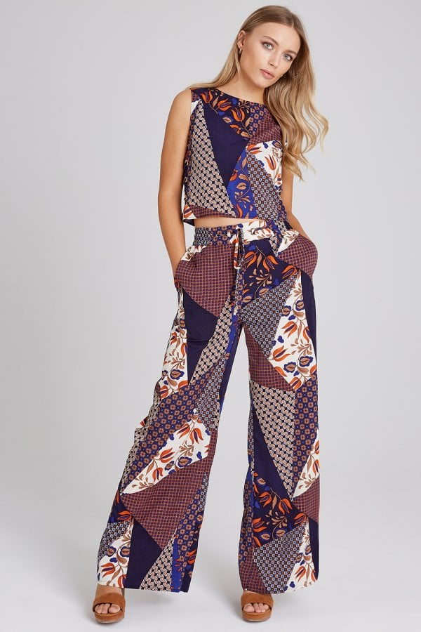 3be0946c4c95 Girls on Film Iris Mixed-Print Lace-Up Top Co-ord - Girls On Film ...