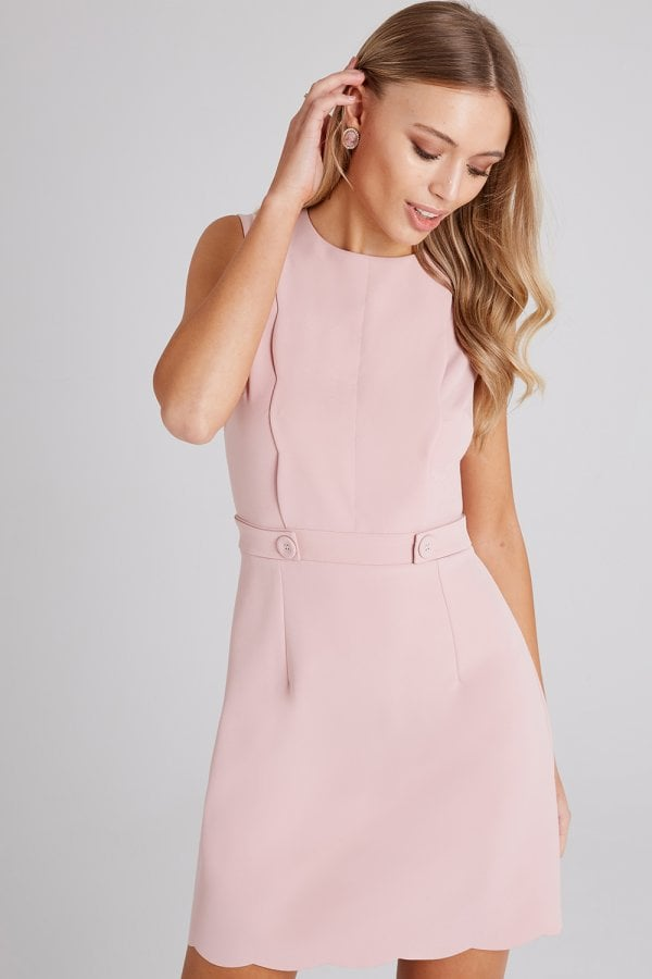 b68c14dd4 Girls on Film Conrad Dusty Pink Scallop Detail Shift Dress - Girls ...