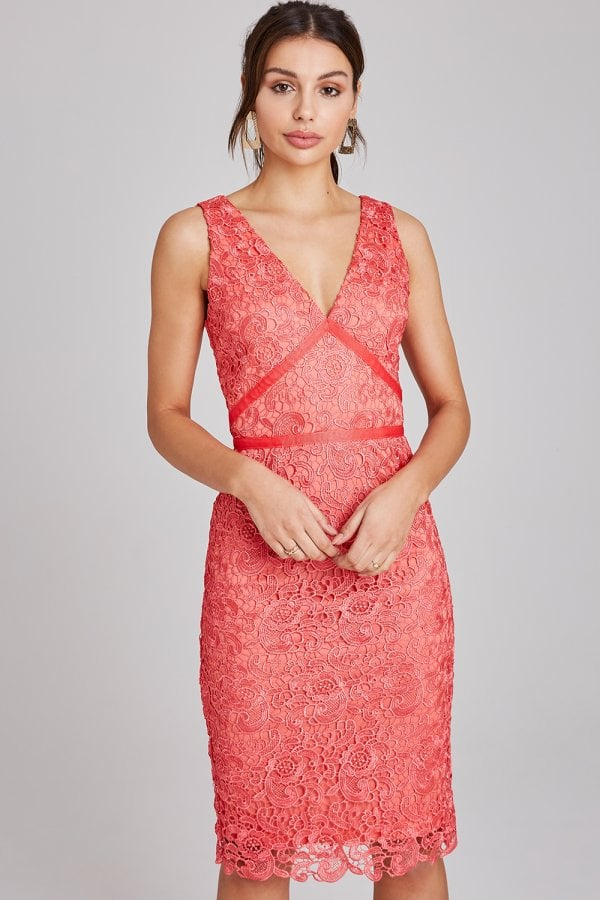 Colbert Coral Crochet Lace Dress
