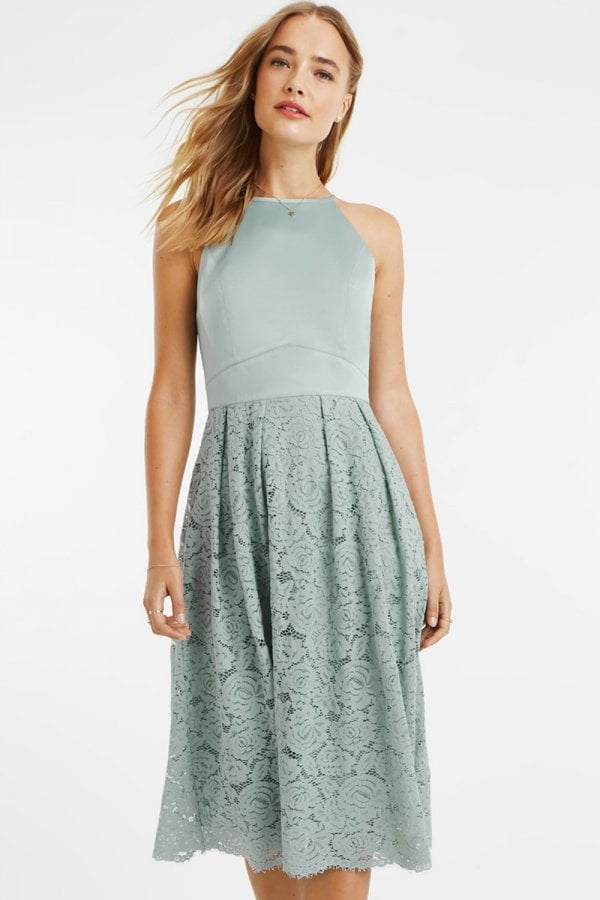 63634747cea2 Oasis Pale Green Satin Bodice Lace Midi Dress - Oasis from Little ...