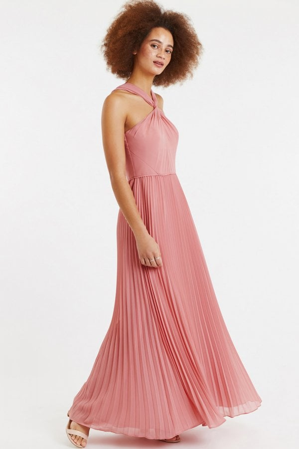 363bfa516d3 Oasis Pale Pink Twist-Neck Chiffon Pleated Maxi Dress - Oasis from ...