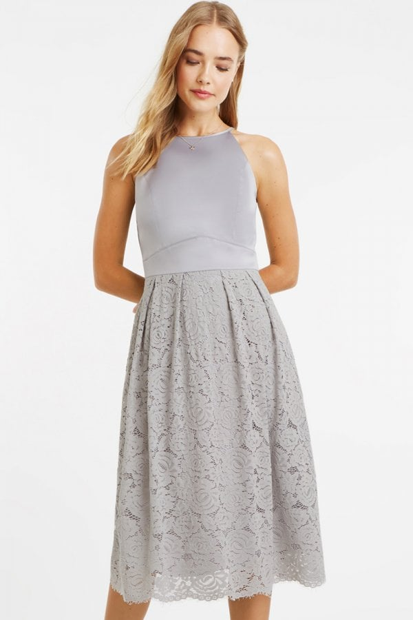 4e57c862fe1a Oasis Pale Grey Satin Bodice Lace Midi Dress - Oasis from Little ...