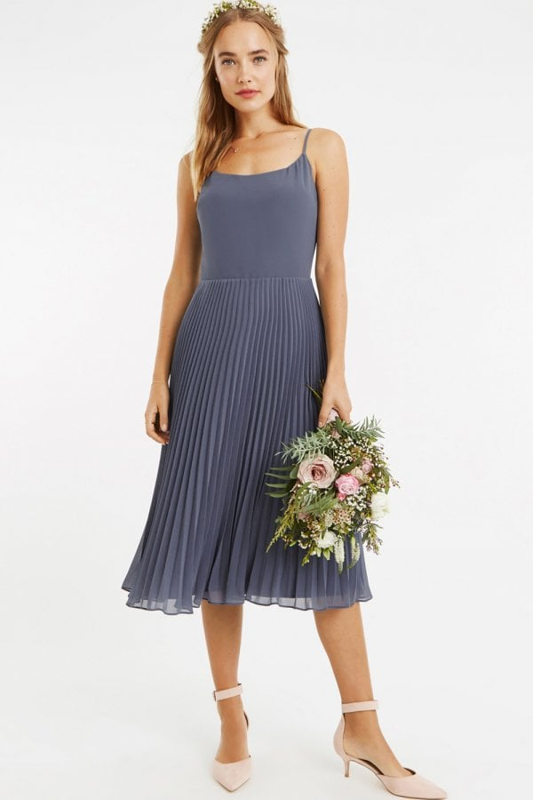b3fc01f0555f8d Oasis Mid Grey 3/4 Sleeve Lace Pleated Midi Dress - Oasis from ...