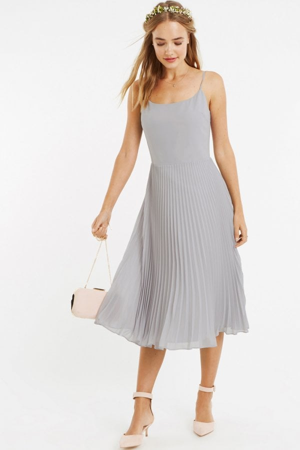 c27ca0e66e23d8 Oasis Pale Grey 3/4 Sleeve Lace Pleated Midi Dress - Oasis from ...