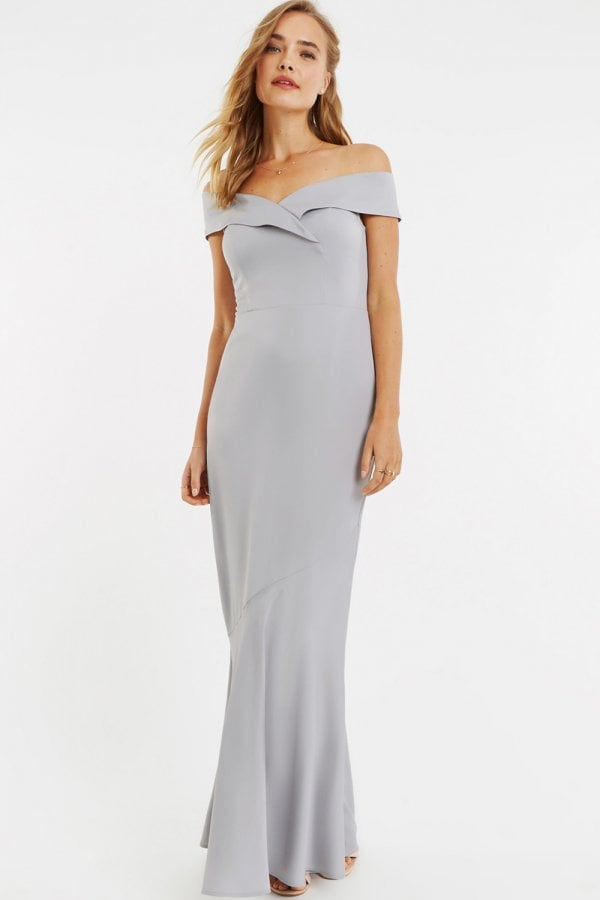4ba616385e6e Oasis Pale Grey Bardot Slinky Maxi Dress - Oasis from Little Mistress UK