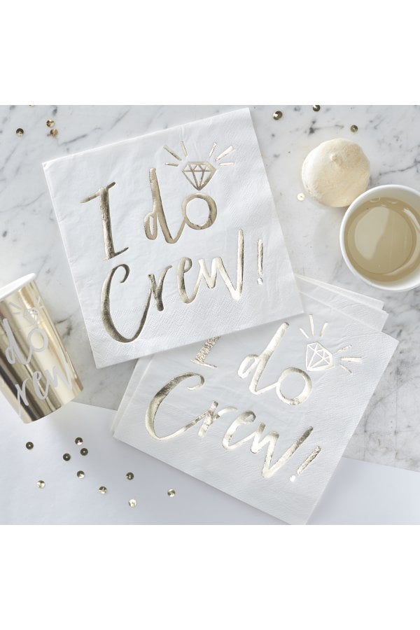 Ginger Ray Gold Foiled I Do Crew Foiled Paper Napkins