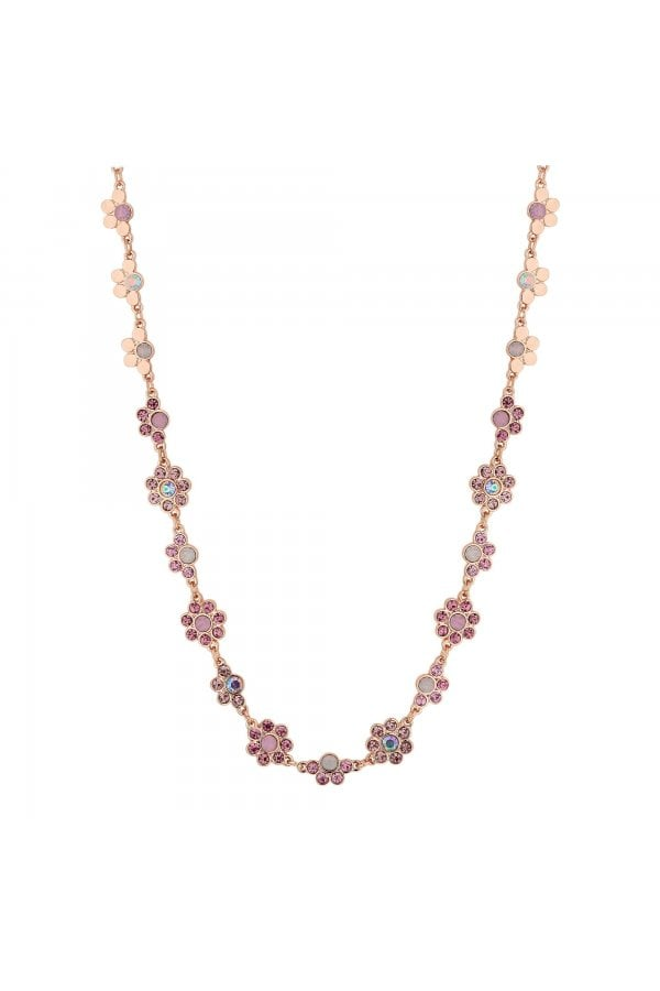 Rose Gold Plated Pink Floral Allway Necklace