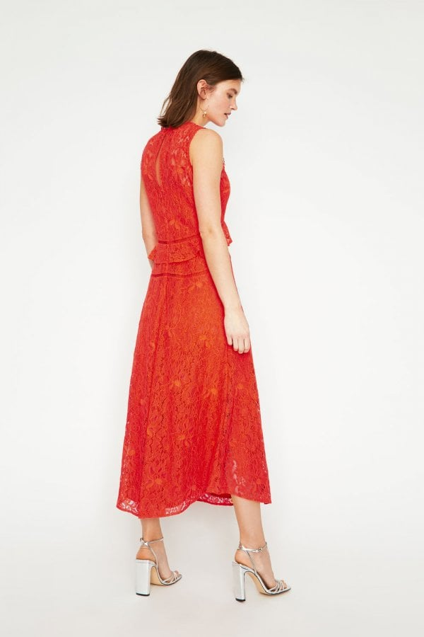 757c5c7d54a4 Warehouse Coral Frill Lace Midi Dress - Warehouse from Little ...