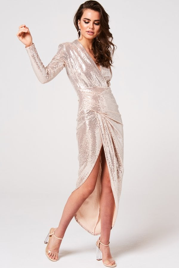 Divine Gold Sequin Midi Wrap Dress