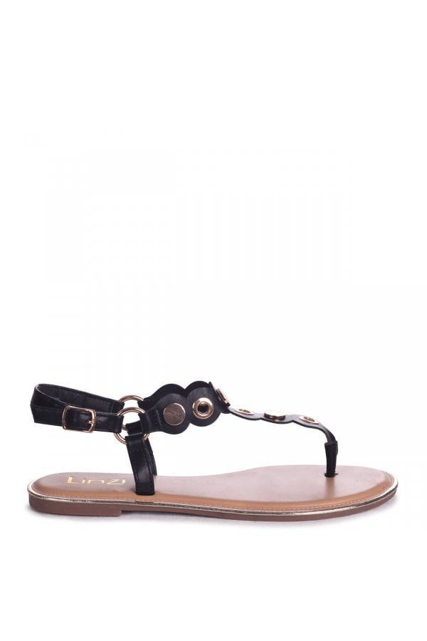 e11a179c485d ... Linzi ATLANTA - Black Nappa Toe Post Sandal With Gold Disc And Studded  Detailclass  ...