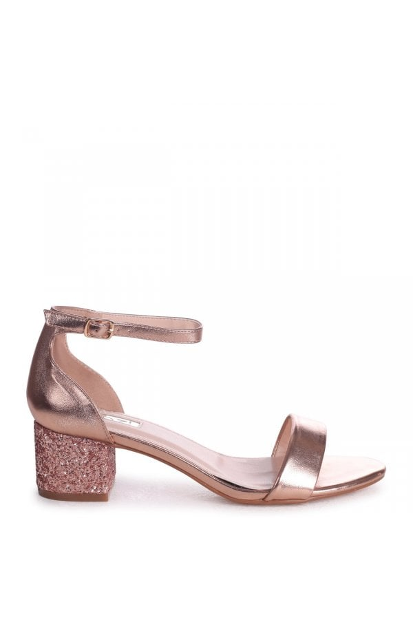 2f49a6d2aa7 ... Linzi LOLLIE - Rose Gold Metallic Heavy Glitter Block Heeled  Sandalclass  ...
