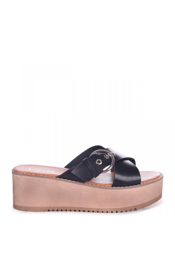 c5cf3a8fd306 ... Linzi ALEXIA - Black Flatform Slider With Crossover Front Strap   Large  Buckle Detailclass  ...