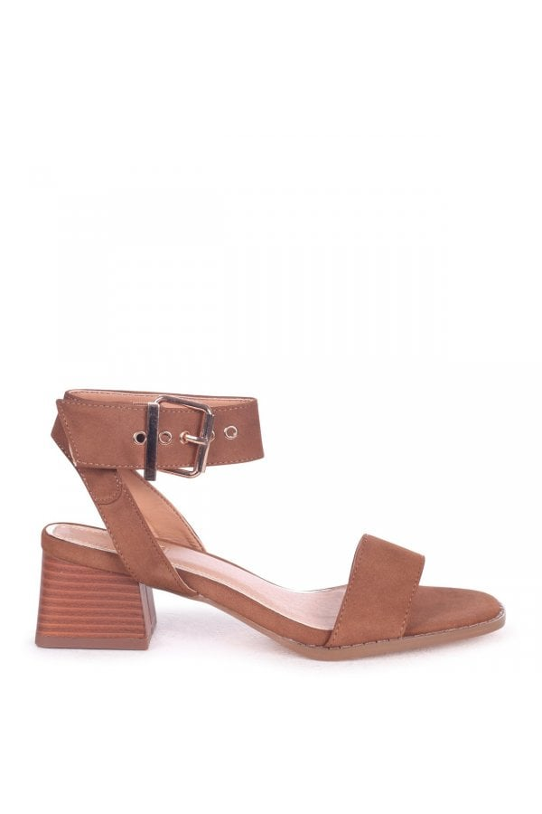5a6365933e3 ... Linzi VENUS - Tan Suede Stacked Block Heel Sandal With Large Buckle  Detailclass  ...