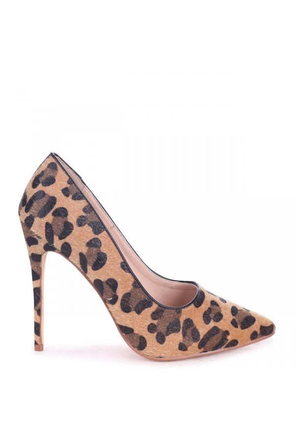 Tally Tan Leopard Print Pony Classic Pointed Court Heels