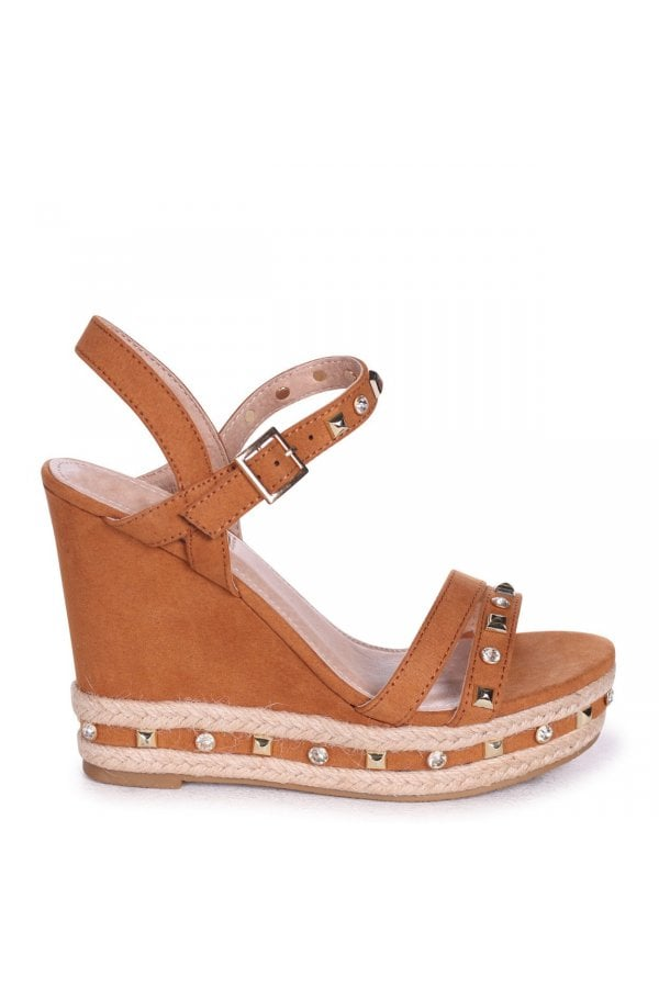 efd1429da2e Linzi CARMEN - Tan Suede Wedge With Mixed Studded & Diamante Detail With  Rope Trim