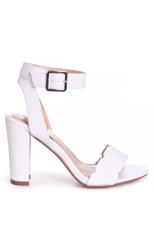94a94d5f92 ... Linzi Darla White Nappa Open Toe Block Heels With Ankle Strap Wavey  Front Strap Detailclass= ...