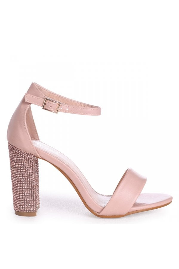 KENSEY - Nude Nappa Barely There With Diamante Heel
