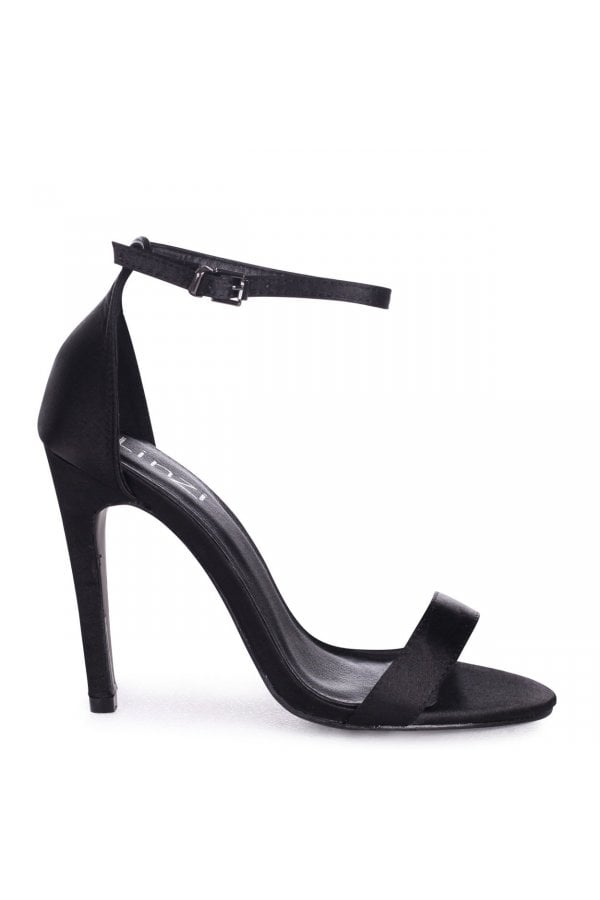 9efc72bbc8a064 Linzi Grace Black Satin Single Sole Barely There Heeled Sandals ...