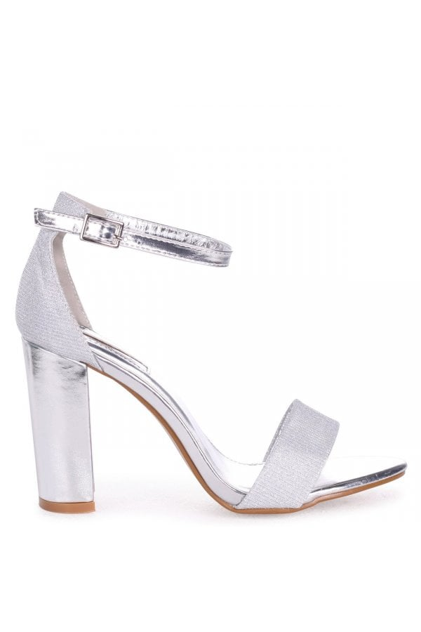 CANDICE - Silver Nappa & Glitter Barely There Block Heel