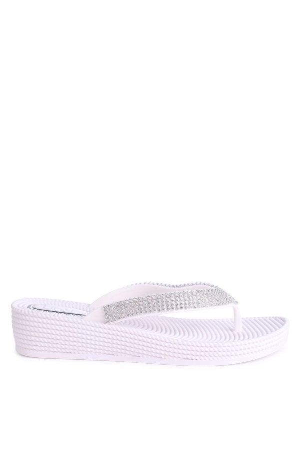 184068e3cd9a ... Linzi KAIA - White Wedged Jelly Flip Flop With Diamante Embellished  Strapclass  ...