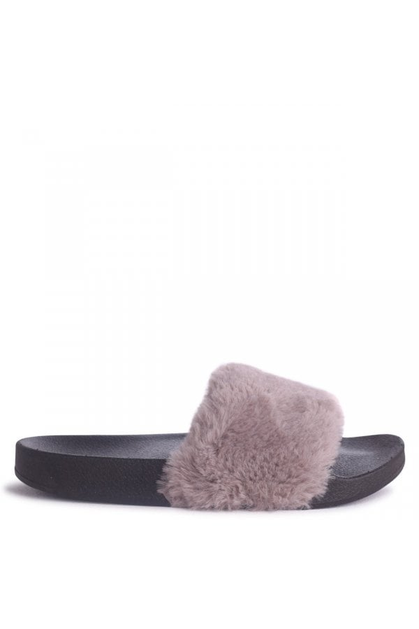 FLEUR - Grey Faux Fur Sliders