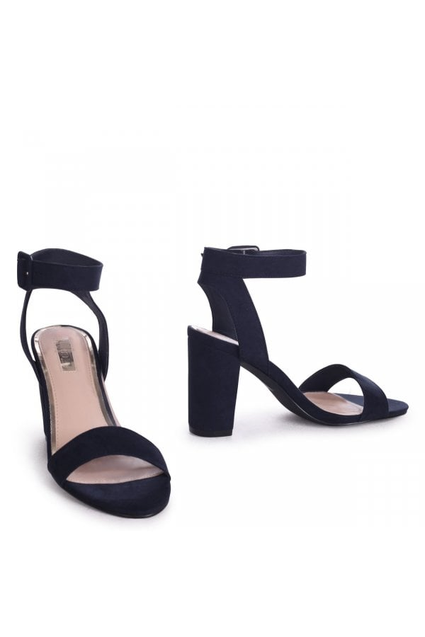 e96e27c162c ... Linzi Millie Navy Suede Open Toe Block Heels With Ankle Strap And Buckle  Detail. Previous  Next. ‹ View ...