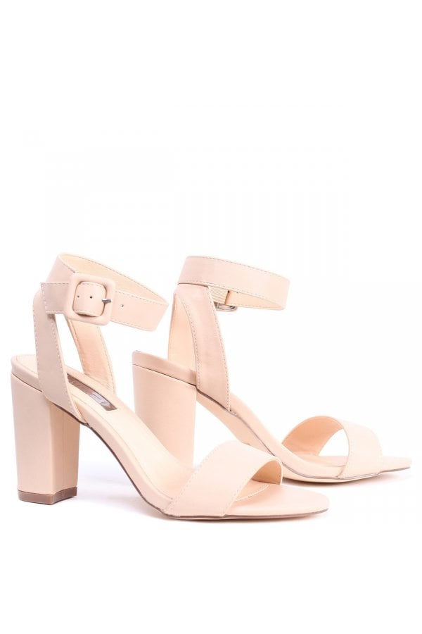 ee147f8f0c2 ... Linzi Millie Nude Nappa Open Toe Block Heels With Ankle Strap And Buckle  Detailclass  ...