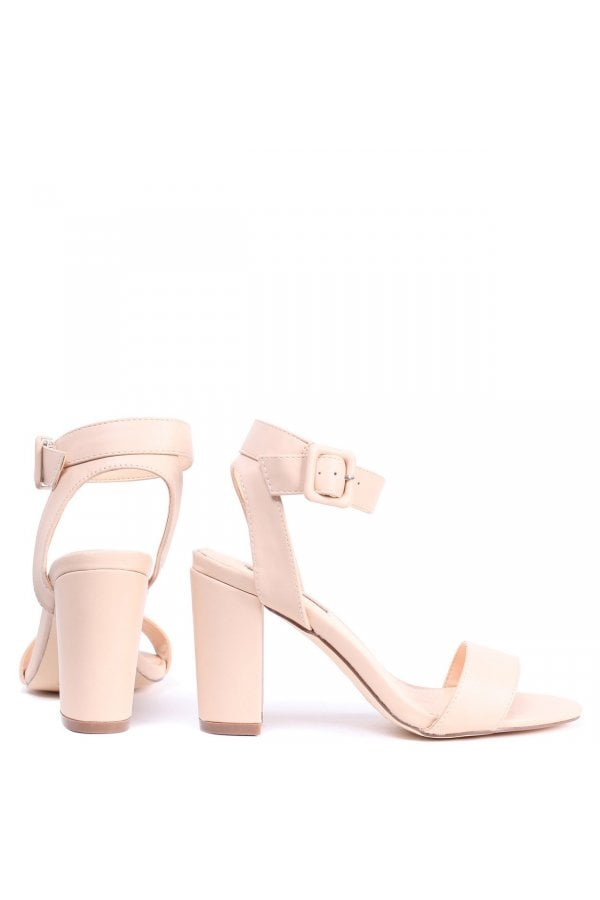 7335e3521a3 Linzi Millie Nude Nappa Open Toe Block Heels With Ankle Strap And Buckle  Detailclass  ...