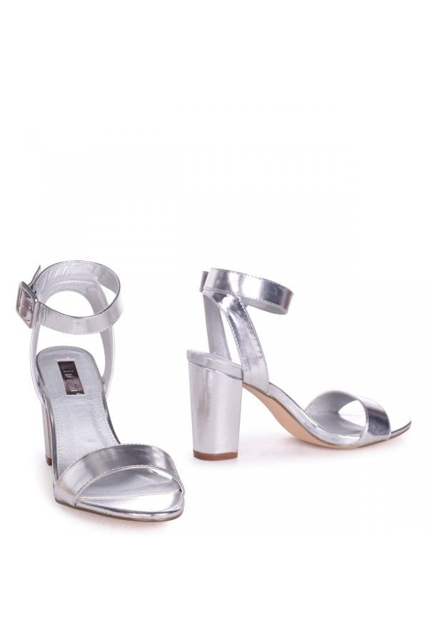 34638f82384 Linzi Millie Silver Metallic Open Toe Block Heels With Ankle Strap And  Buckle Detailclass  ...