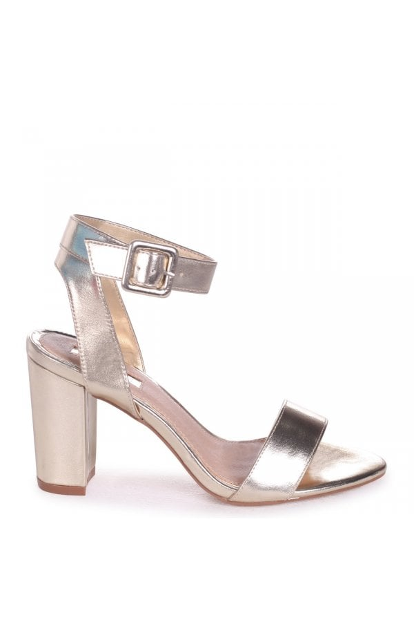 4c2abbf5779 Linzi Millie Gold Metallic Open Toe Block Heels With Ankle Strap And Buckle  Detail