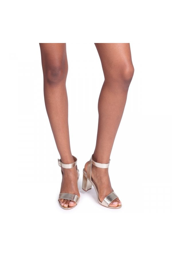 38607e63cd5 Linzi Millie Gold Metallic Open Toe Block Heels With Ankle Strap And Buckle  Detailclass  ...