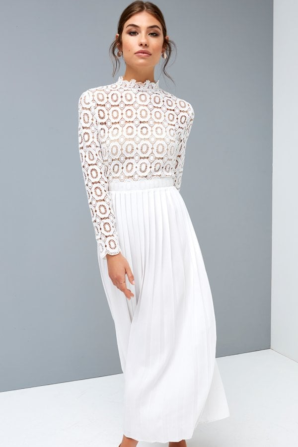 b8cb9b3c9946 ... Little Mistress Alice White Crochet Top Midi Dress With Pleated  Skirtclass  ...
